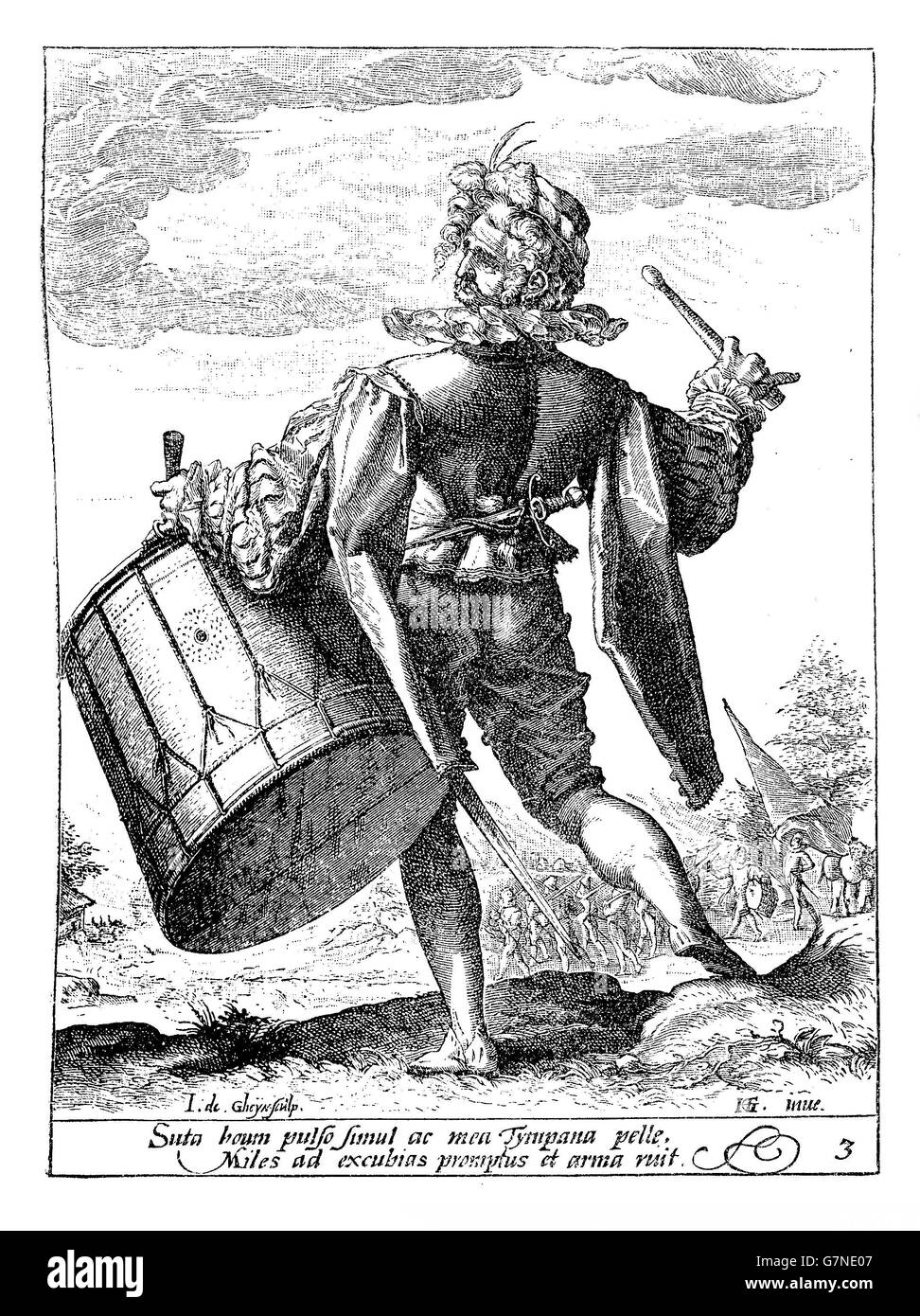 1600, illustration depicting a drummer guard of Rudolf II of Habsburg, Holy Roman Emperor, King of Bohemia and Archduke - Stock Image
