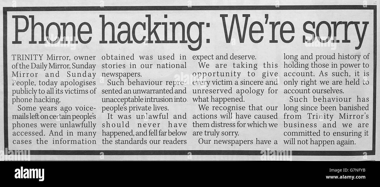 Mirror phone hacking apology - Stock Image