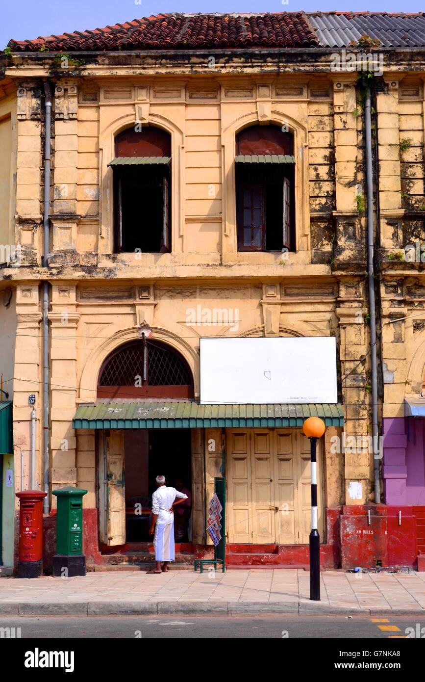 Row Colourful Shops In Old Stock Photos & Row Colourful