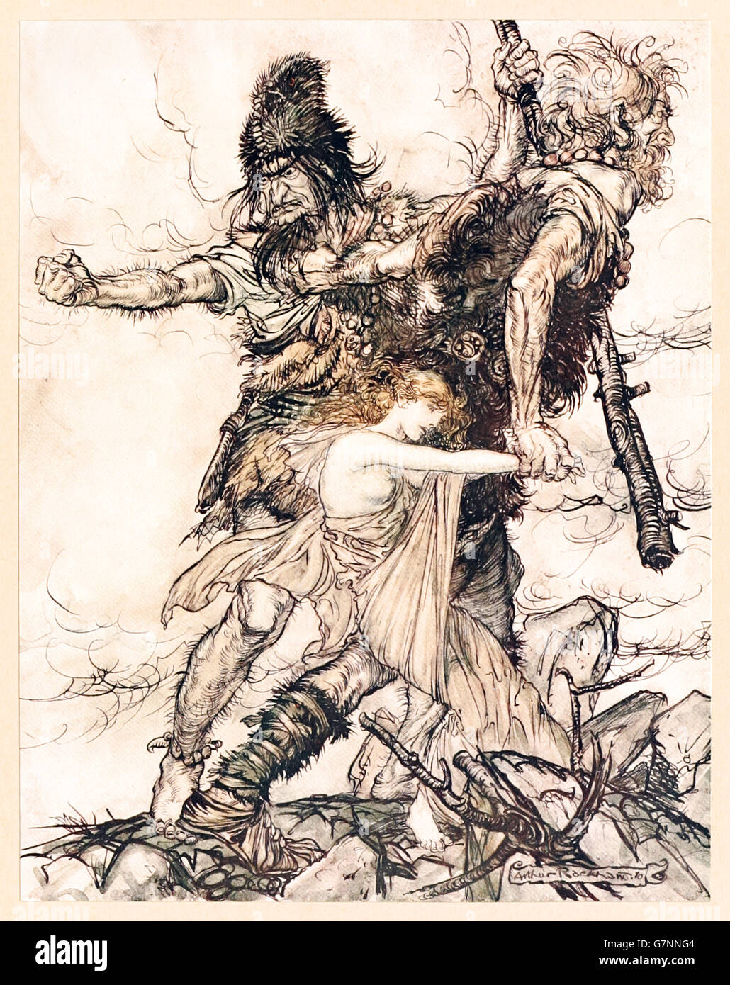 """""""Fasolt suddenly seizes Freia and drags her to one side with Fafner"""" from 'The Rhinegold & the Valkyrie' illustrated - Stock Image"""
