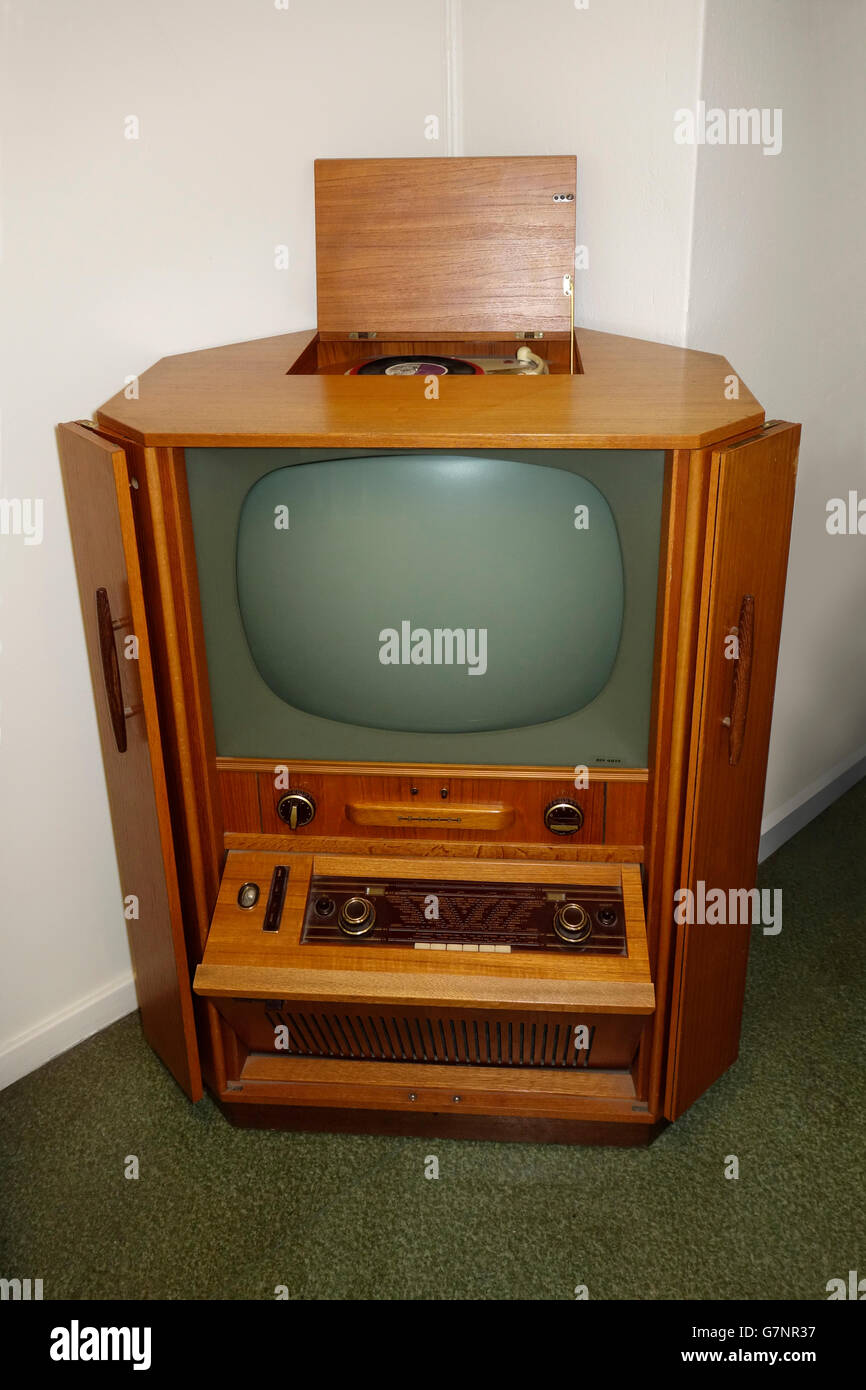 Old Philips Radio Record player & TV cabinet (60es?) - Stock Image