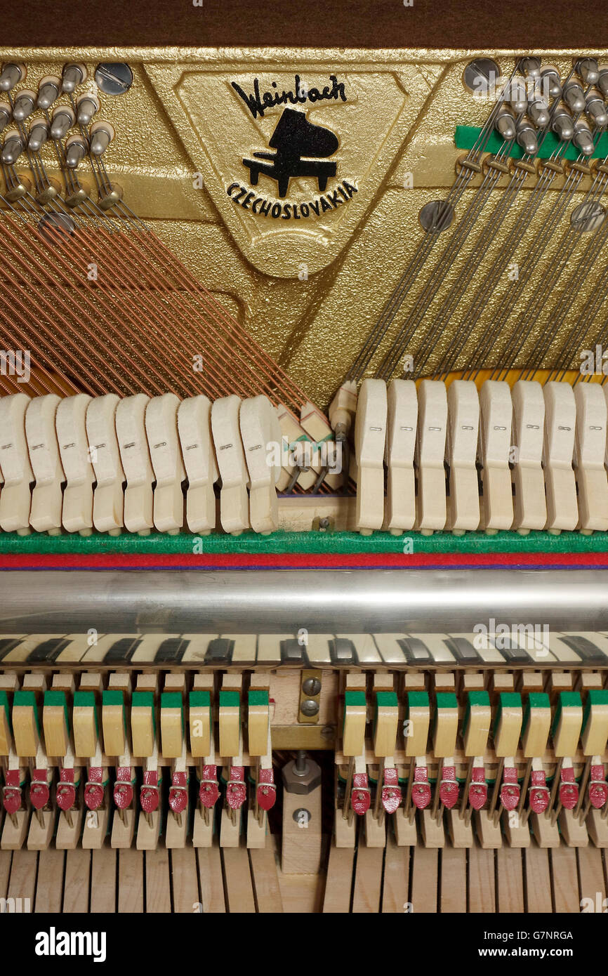 Close up of action mechanism on an upright piano - Stock Image