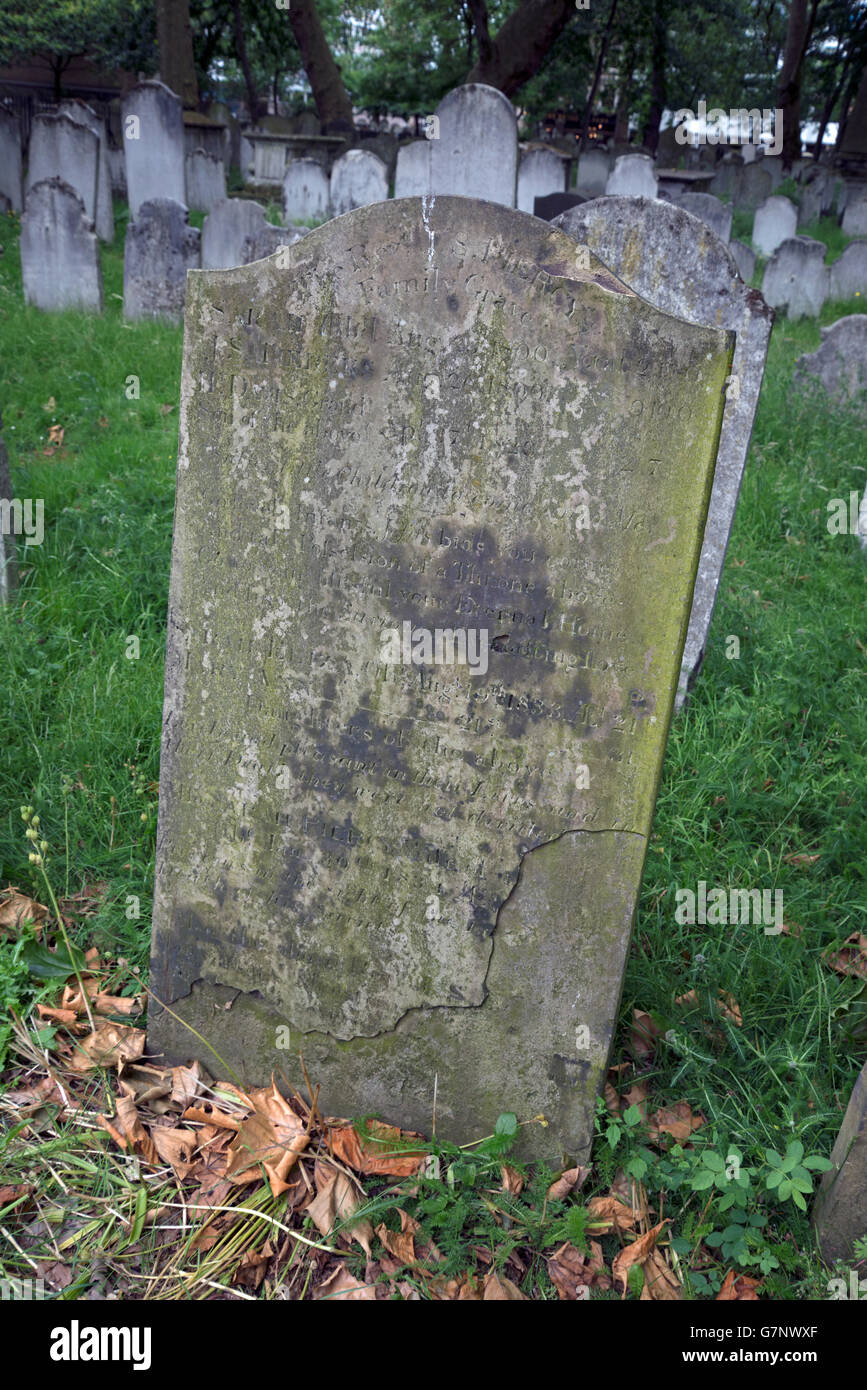 Headstone of the Rev J S Piercy in Bunhill Fields Burial Ground, London. Stock Photo