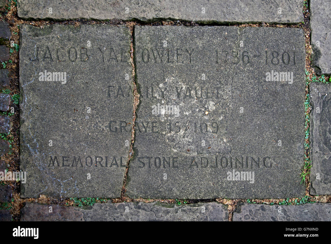 Paving stone in Bunhill Fields marking the family vault of Jacob Yallowley (1736-1801). - Stock Image