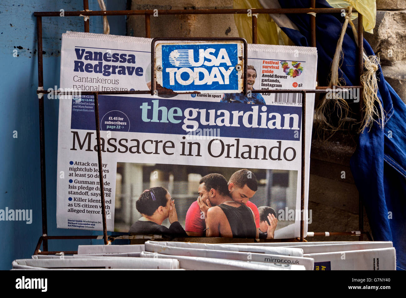 Orlando shooting headline in The Guardian newspaper. - Stock Image