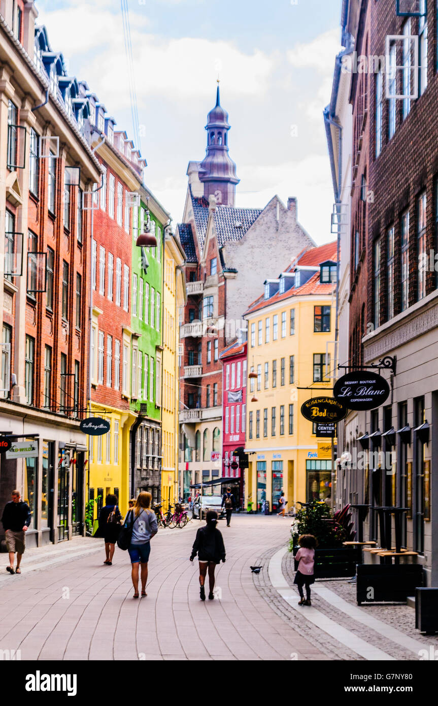 Street in Copenhagen with colourful buildings. - Stock Image