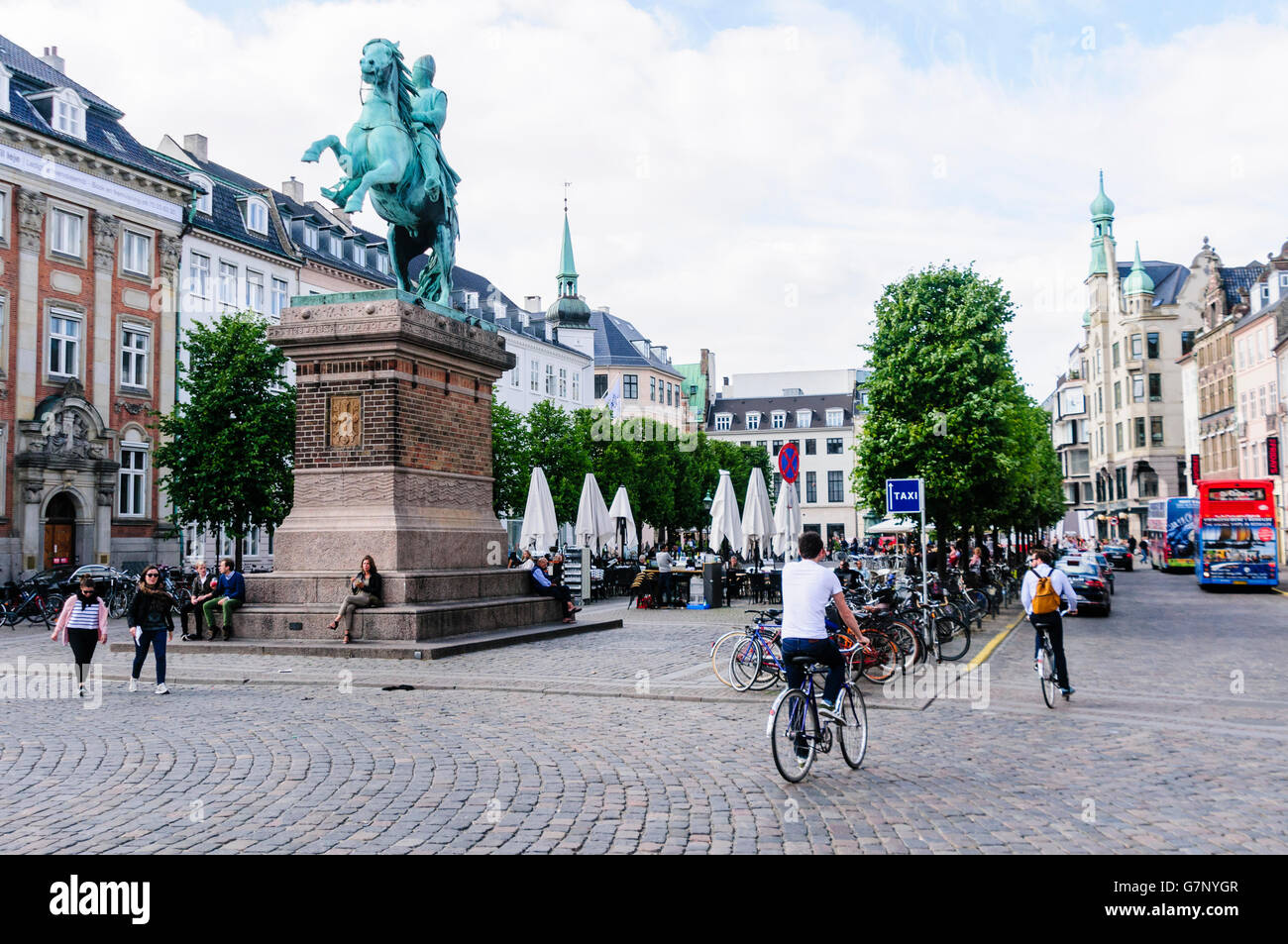 Statue of  Absalon, a warrior bishop knight who was the founder of Copenhagen, on horseback at Højbro Plads, - Stock Image