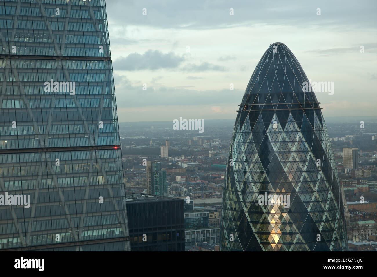 Gherkin and Cheese Grater skyscrapers, London, UK - Stock Image