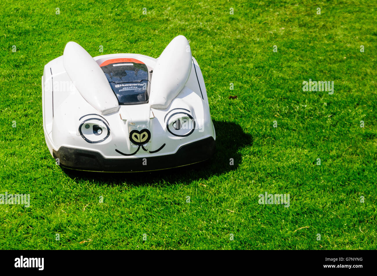 A Husqvarna robotic grass and lawn mower disguised as a rabbit. - Stock Image