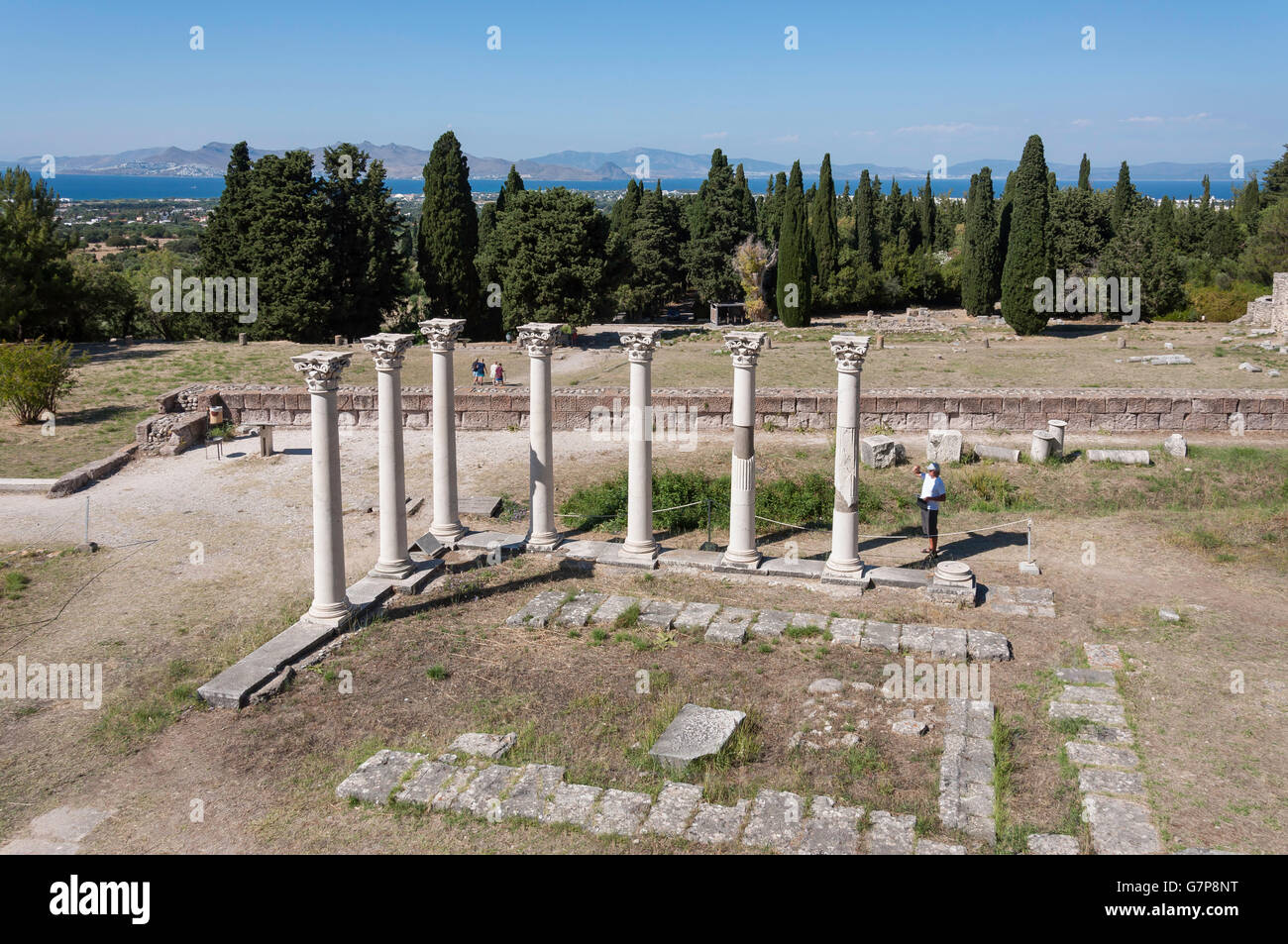 Corinthian columns on The Middle terrace of The Asklepieion, Platani, Kos (Cos), The Dodecanese, South Aegean Region, - Stock Image