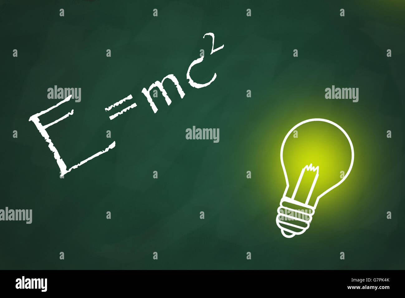 Chalkboard with a bright light bulb and theory of relativity - Stock Image