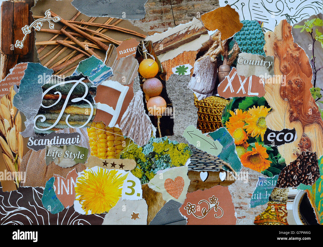 950dc411b75 Creative Atmosphere art mood board collage sheet in colorful nature made of  teared magazines and printed