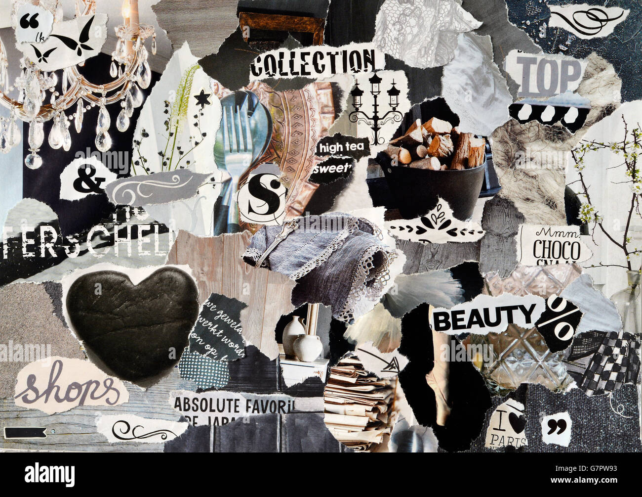 29e6dd9f793 Creative Atmosphere art mood board collage sheet in color black and white  made of teared magazines
