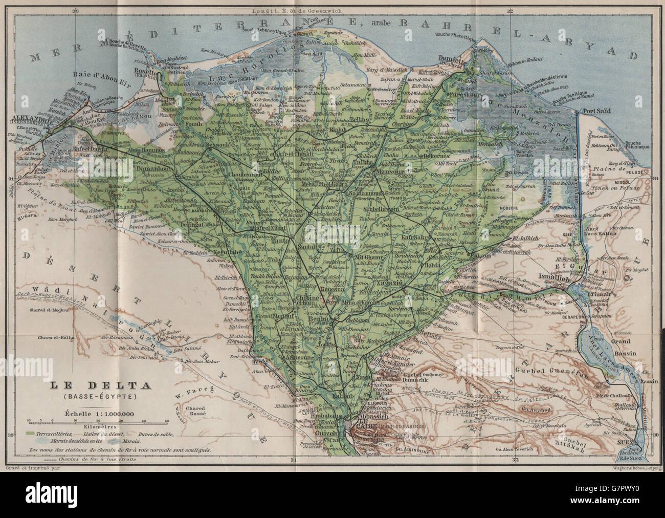 THE NILE DELTA. LOWER EGYPT. BASSE-ÉGYPTE. BAEDEKER, 1914 antique map - Stock Image