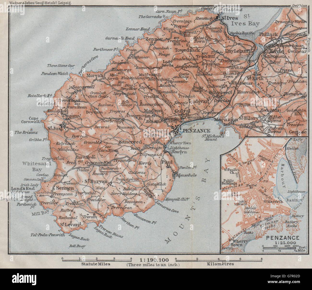 Atlas Ives Penzance /& St 1906 Antique Map