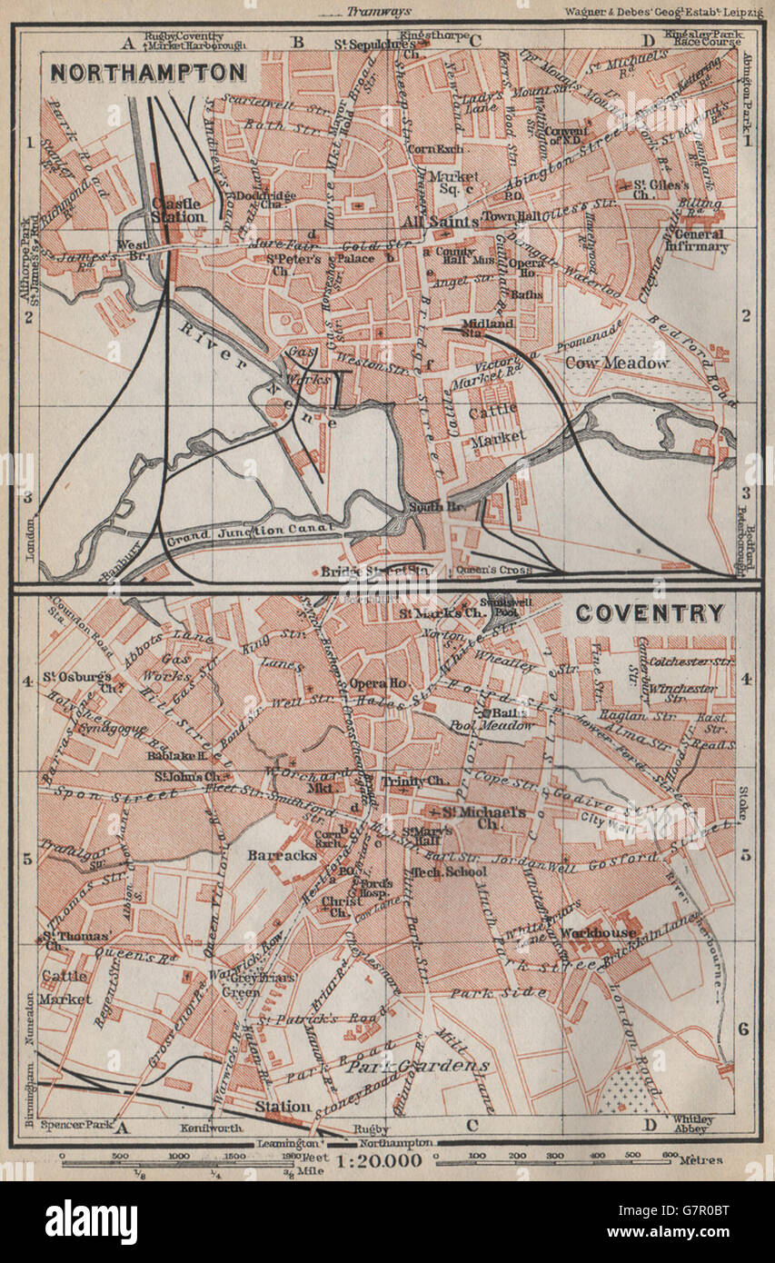 NORTHAMPTON /& COVENTRY town city plans Pre World War 2 Midlands 1910 old map