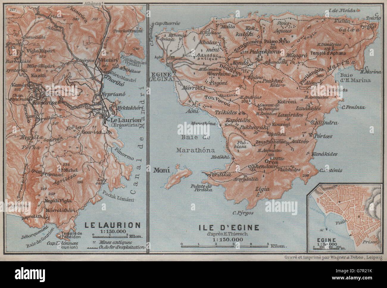 AEGINA island LAURIUM LAVRIO Egina plan Topomap Greece 1909