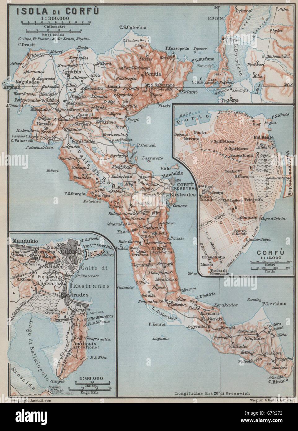 Corfu Island Town Kerkira Town City Plan Sxedio Polhs Greece