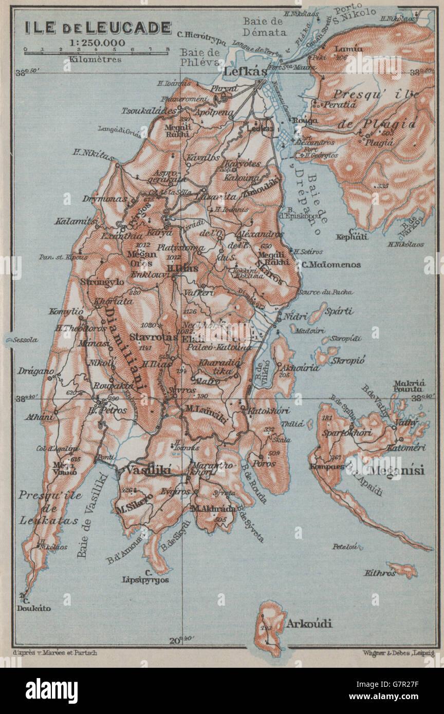 Lefkada Leucas Leucadia Island Meganisi Arkoudi Topo Map Stock