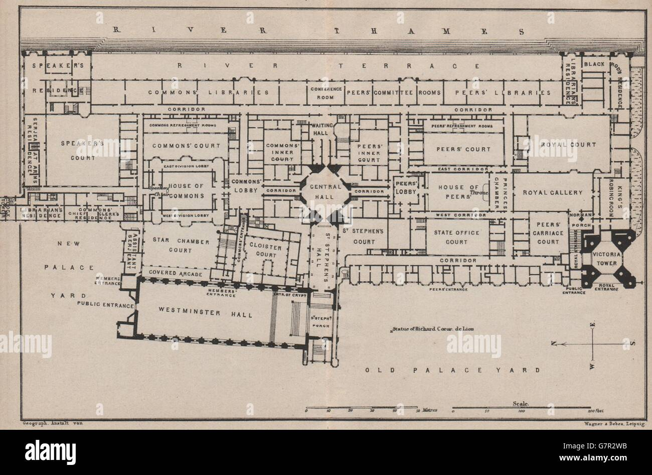 Houses of parliament floor plan palace of westminster london 1905 old map