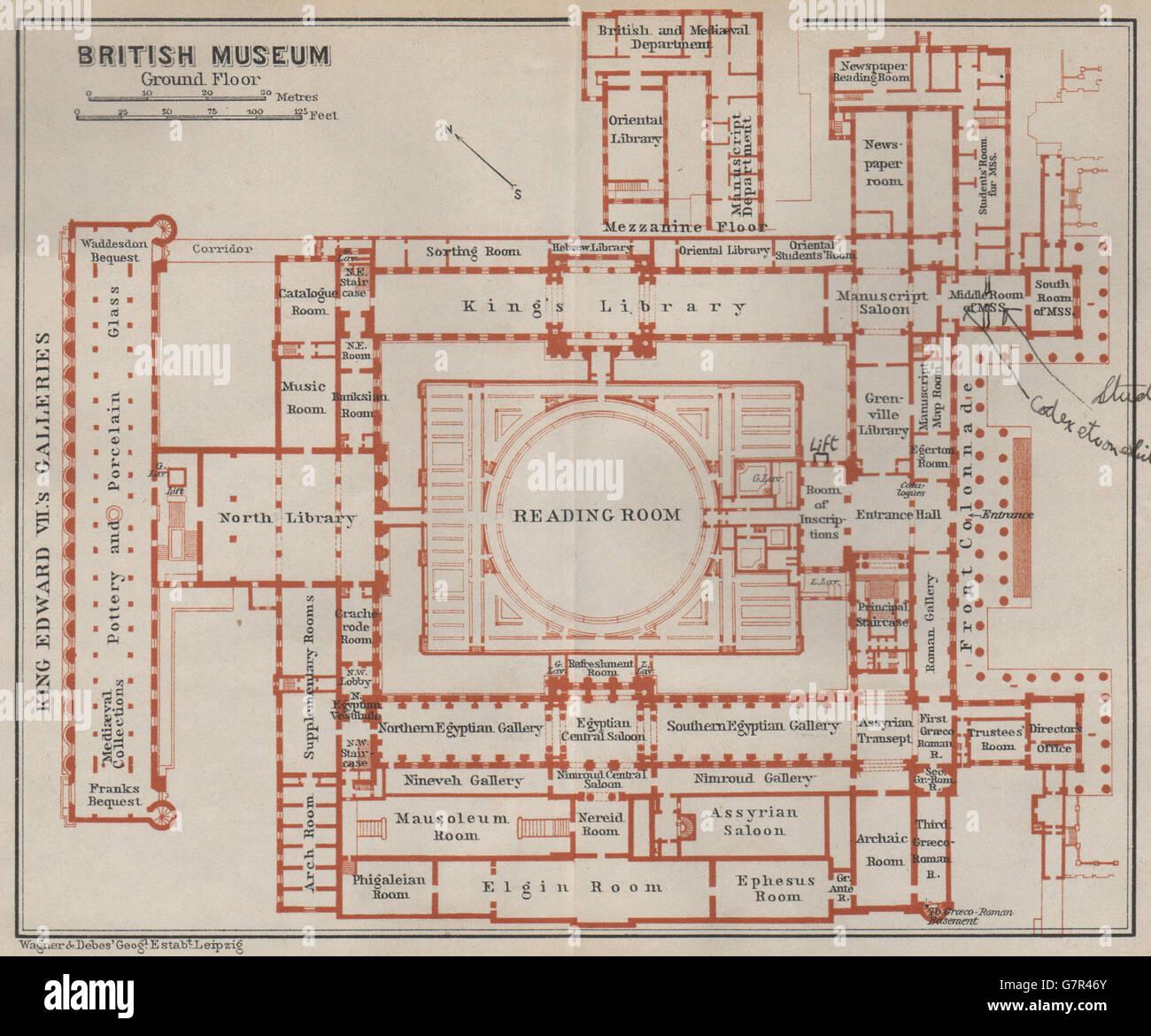 British Museum Ground Floor Floor Plan Bloomsbury London Baedeker