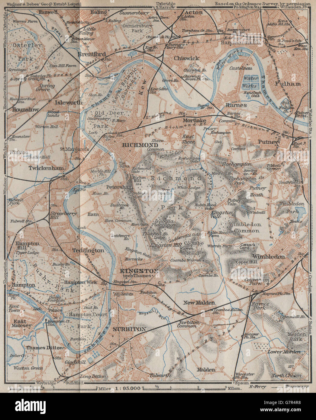 South West London Map.South West London Richmond Kingston Surbiton Putney Chiswick Stock