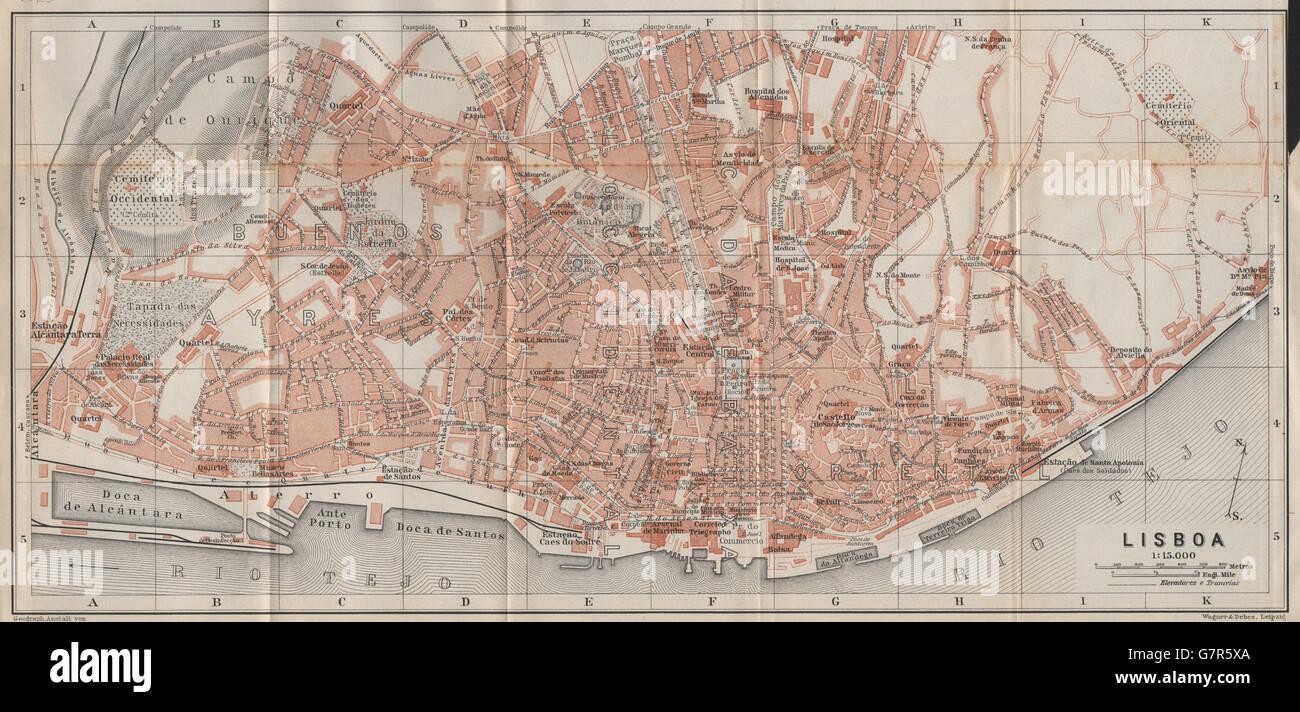 Lisbon Lisboa Antique Town City Plano De La Cidade Portugal Mapa