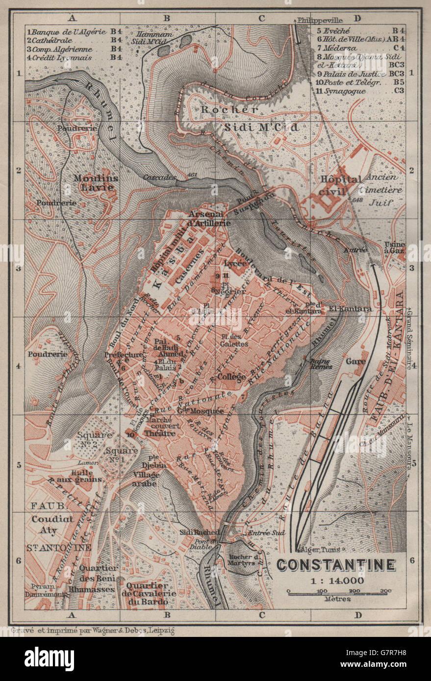 CONSTANTINE town city plan Qasentina Kasantina Algeria carte 1911