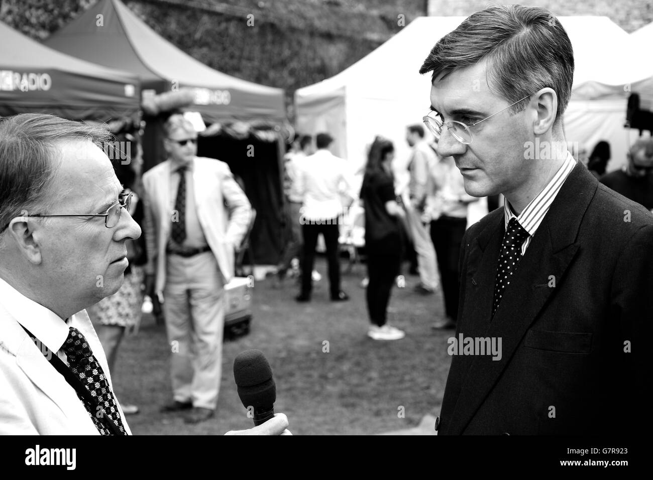 Channel 4 broadcaster and journalist Michael Crick interviews Tory MP Jacob Rees-Mogg about the result of the EU - Stock Image