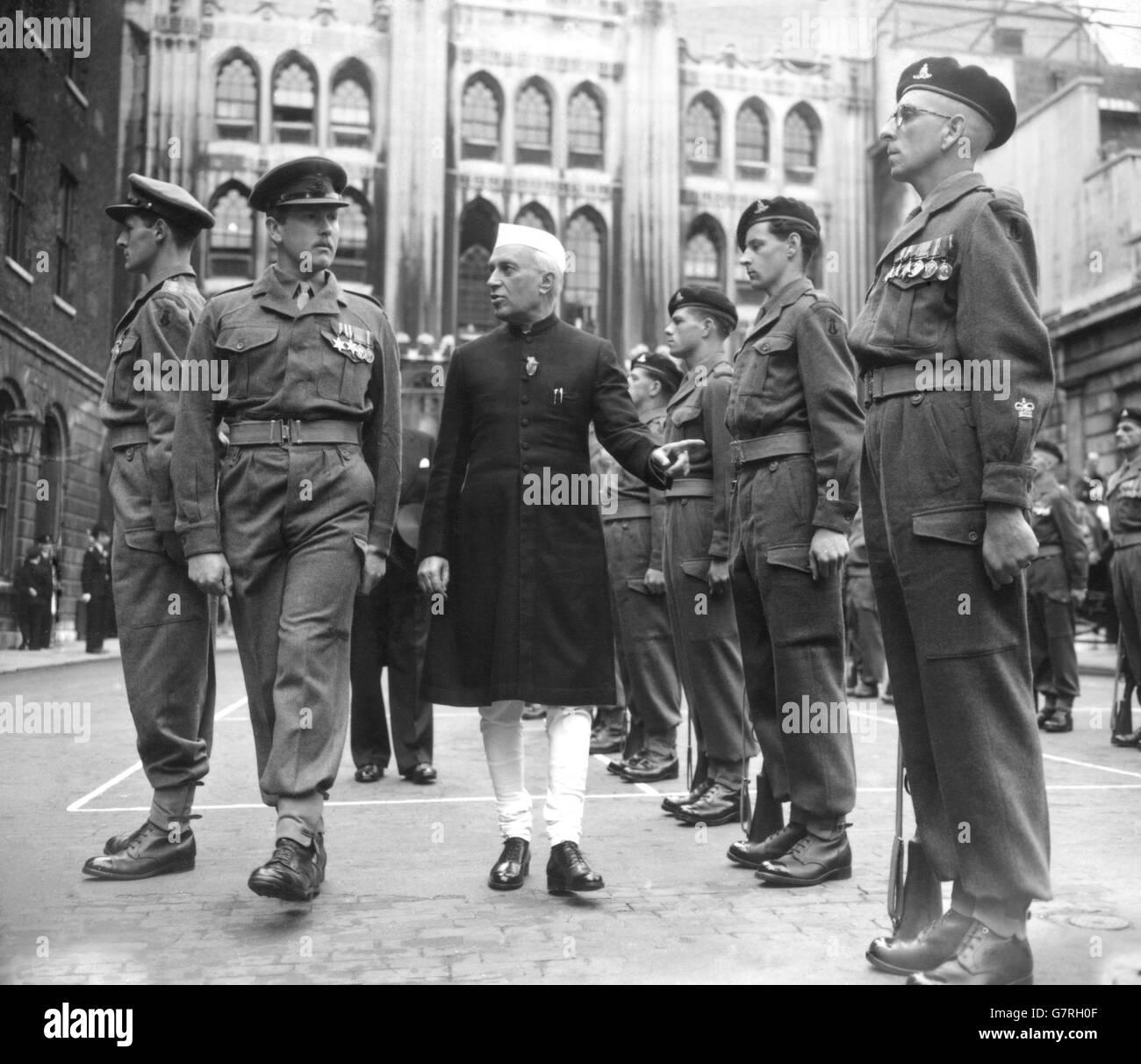 Politics - Indian Prime Minister - Pandit Jawaharlal Nehru - Freedom of the City - London - Stock Image