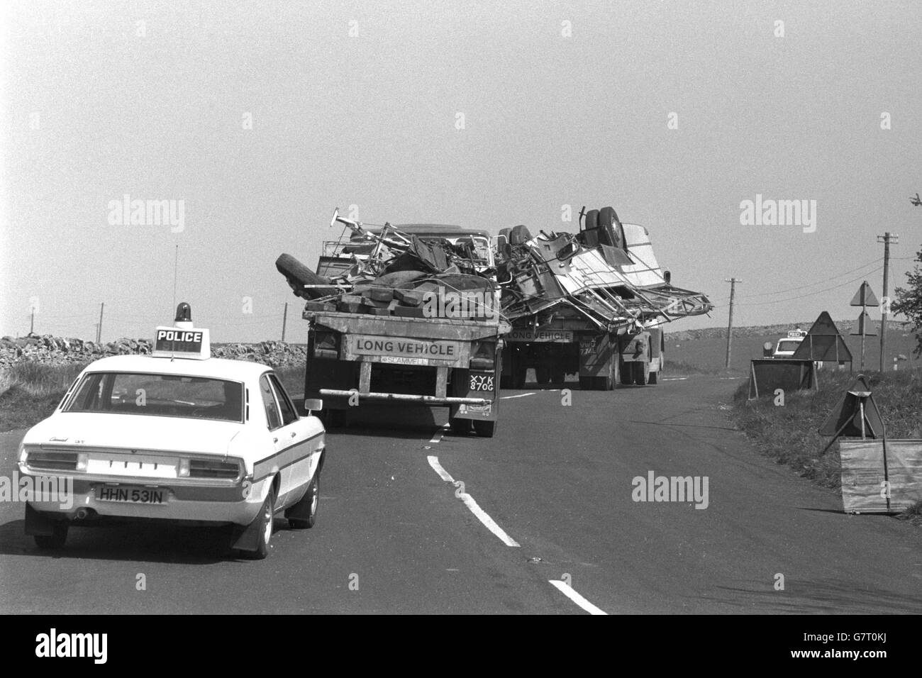 Accidents and Disasters - Coach Crash - Dibbles Bridge, Hebden, Yorkshire - Stock Image