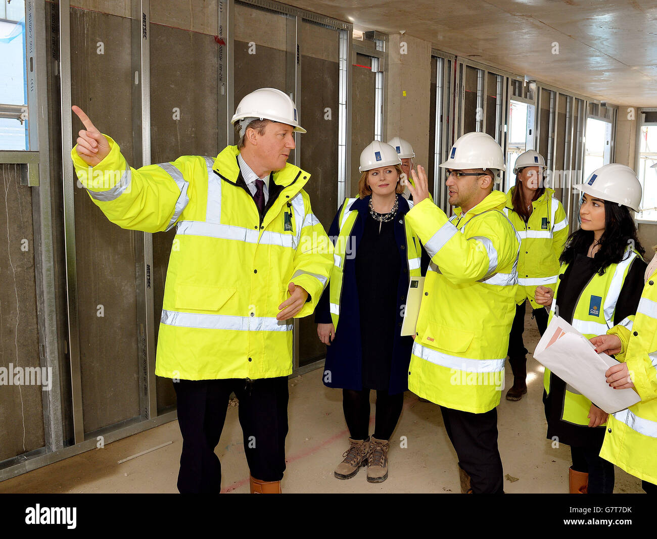 Cameron visit to building site Stock Photo