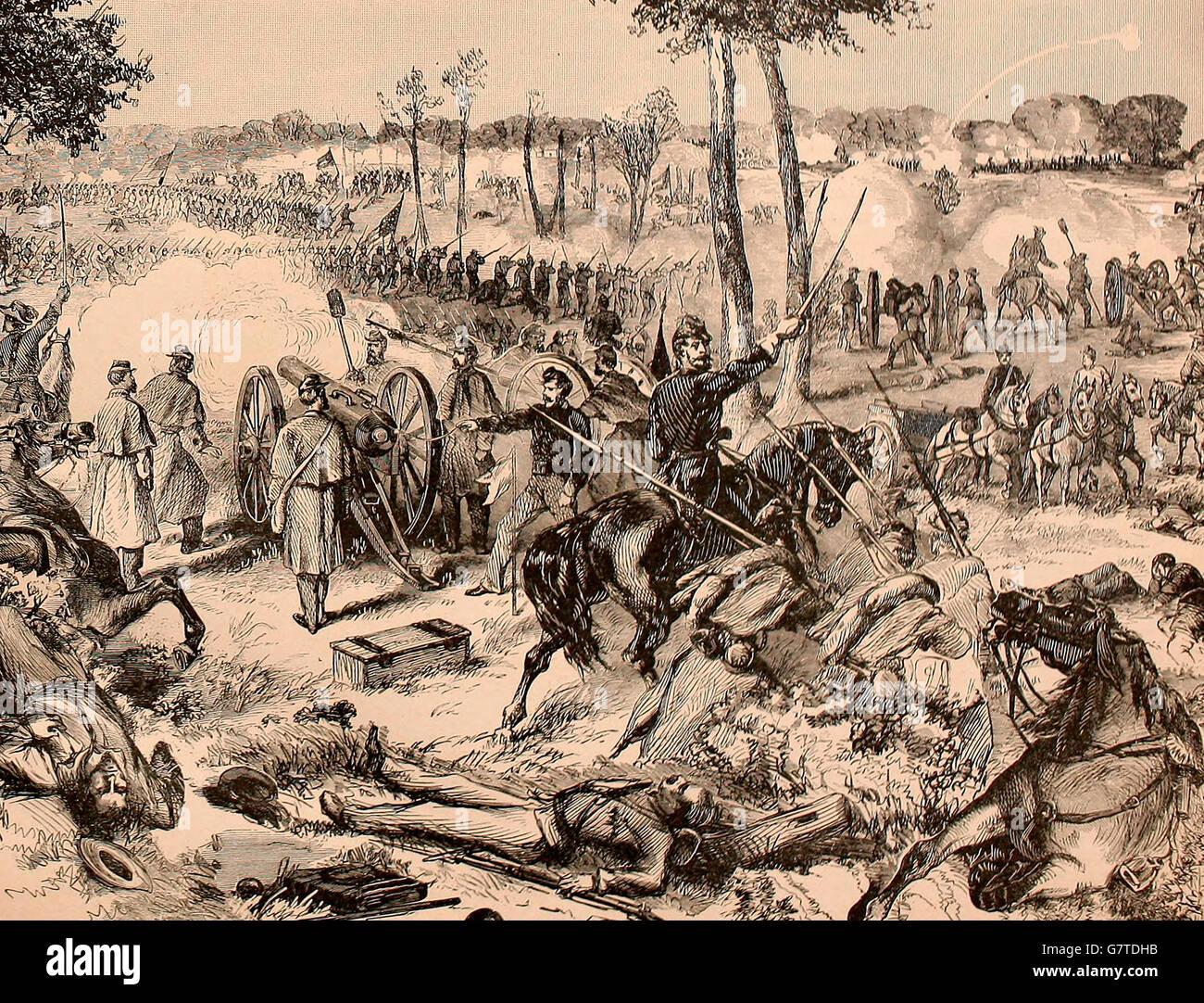 Conflict at Black River, near Martinsburg, Virginia, July 2, 1861. USA Civil War - Stock Image