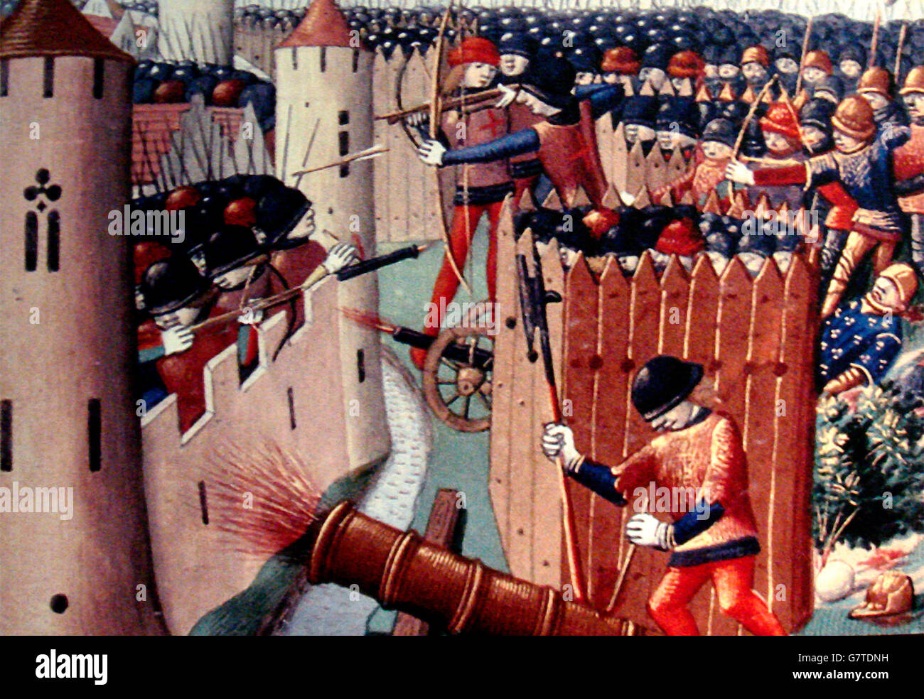 1490s depiction of the Siege of Orleans of 1429.   Martial d'Auvergne - Stock Image