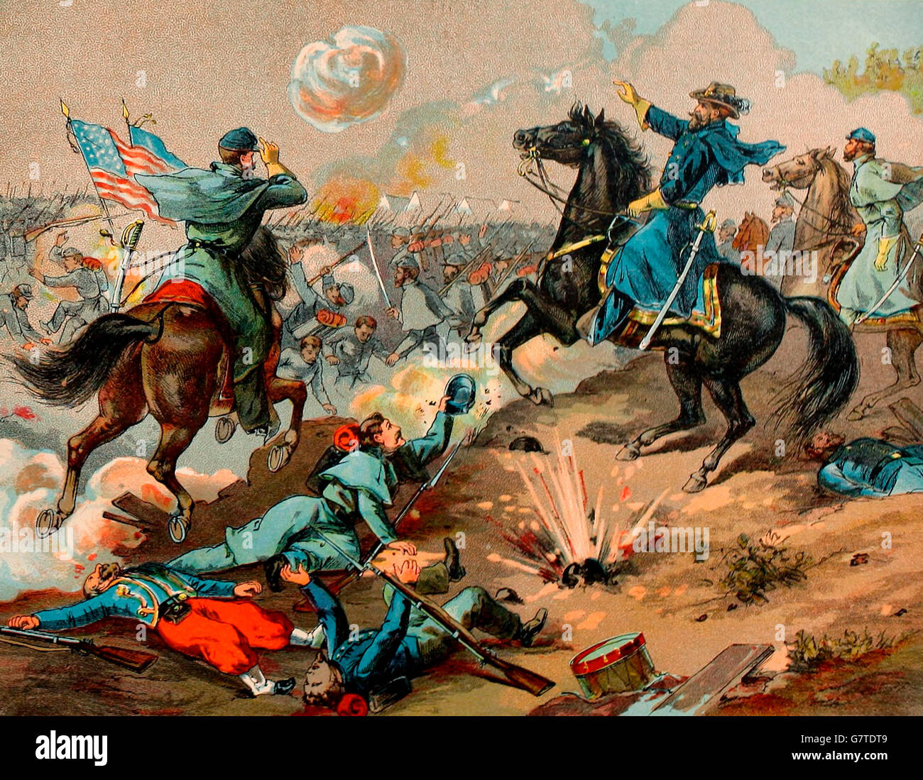 Shiloh - Engagement between Grant and Buell and Albert Johnston and G A Beauregard, April 6, 1862. USA Civil War - Stock Image