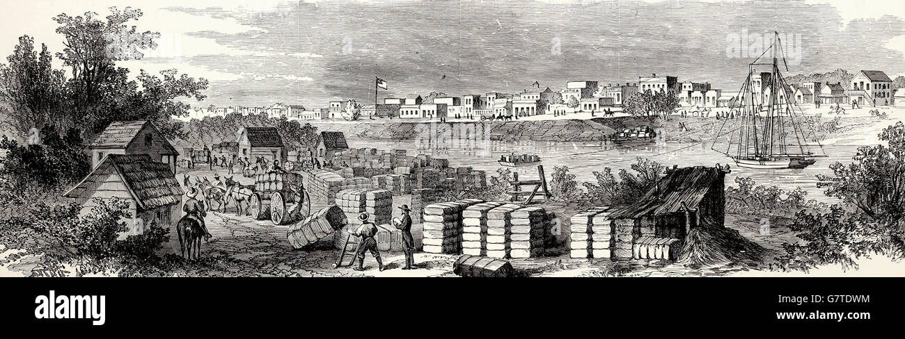 The War in Texas - Brownsville occupied by the Army under Major General Banks in 1863. USA Civil War - Stock Image