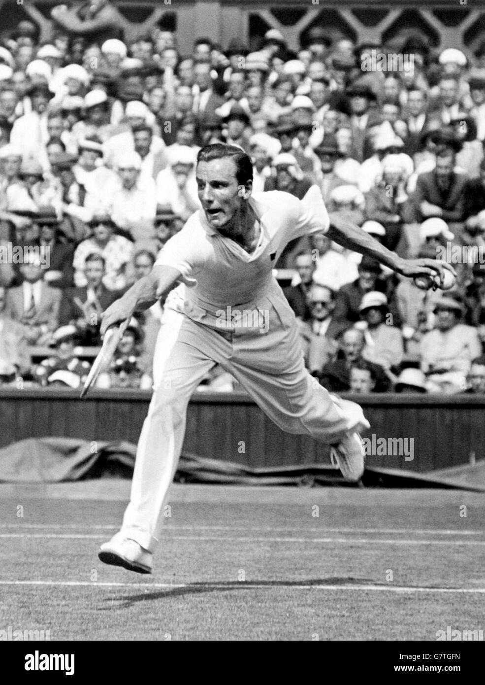 Tennis - Wimbledon Championships - Men's Singles - Fred Perry v Adrian Quist - Stock Image