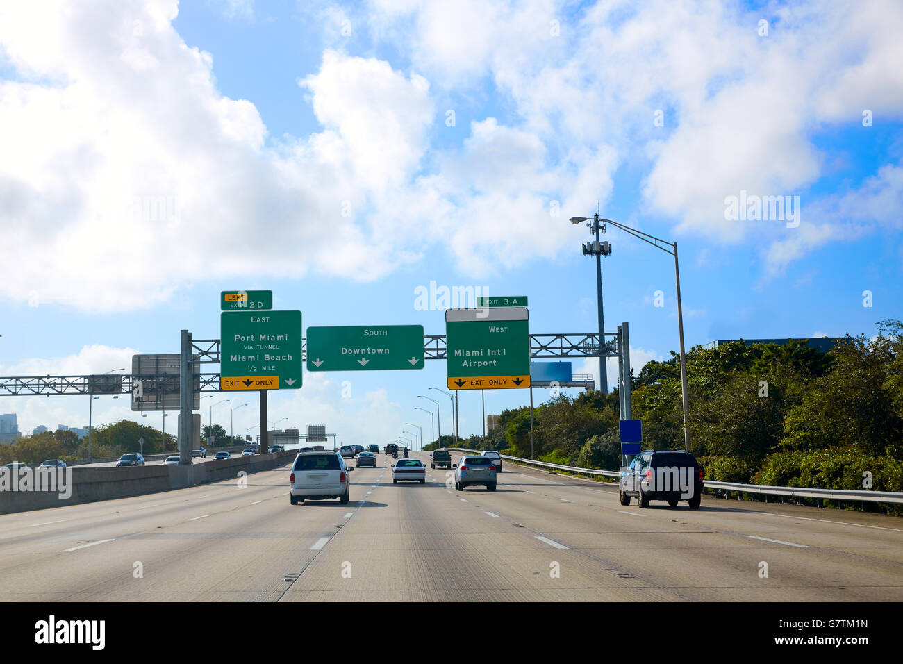 Miami Florida road sign to Downtown in USA - Stock Image