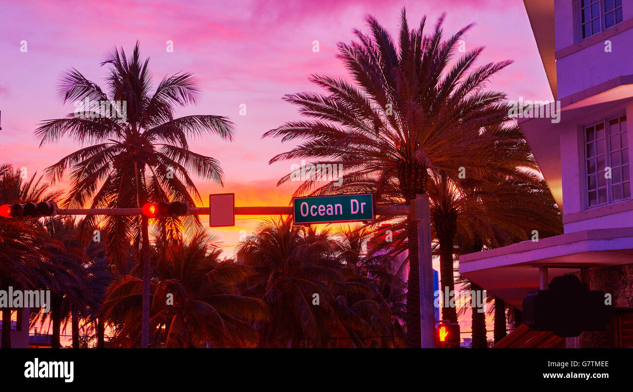 Miami Beach South Beach sunset in Ocean Drive sign Florida - Stock Image