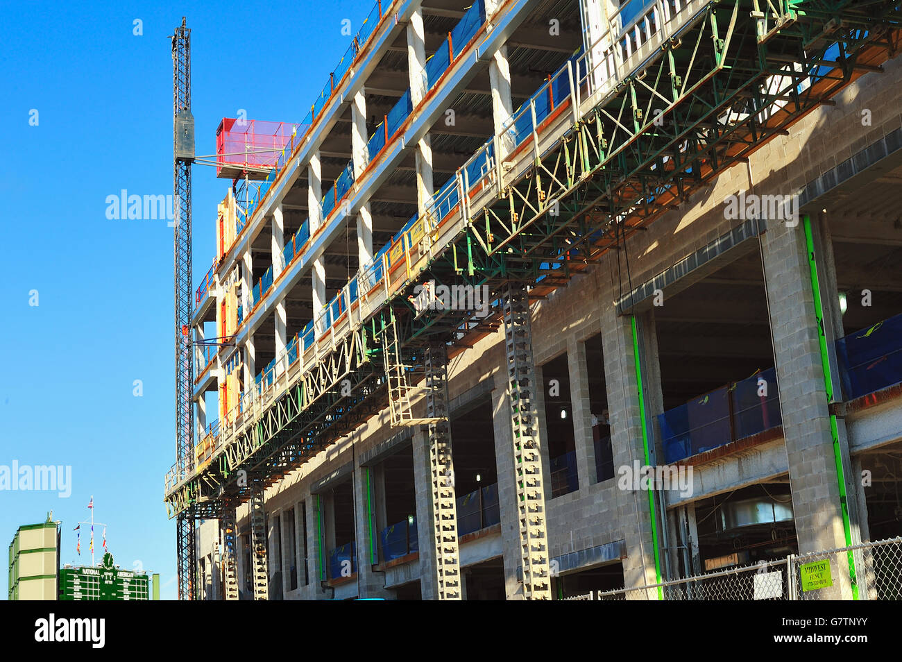 Renovations, innovations and construction abounding in and around Wrigley Field, home to the Chicago Cubs. Chicago, - Stock Image