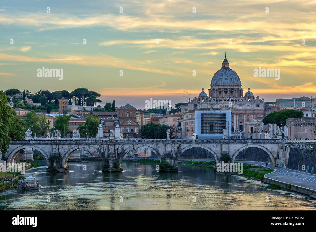 Sunset at Rome with Saint Peter Basilica, Rome, Italy - Stock Image