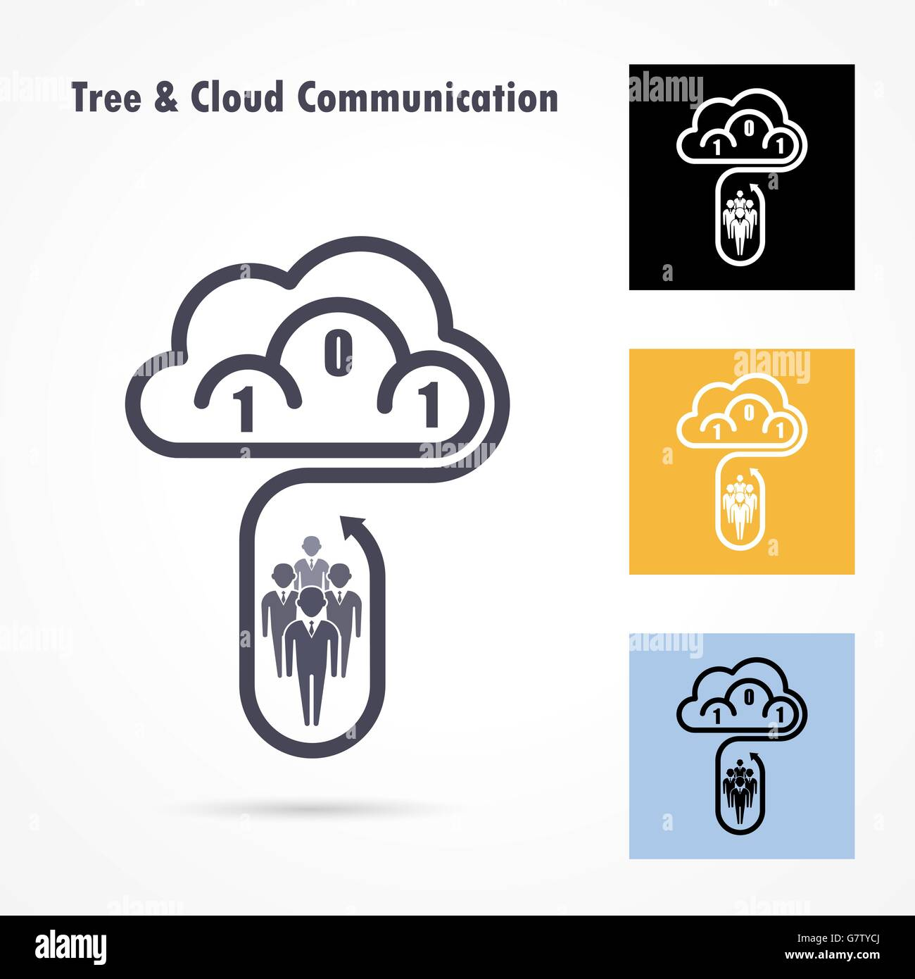 Tree and cloud logo vector design template. Computer and data transfer symbol. Business and technology concept.Vector Stock Vector