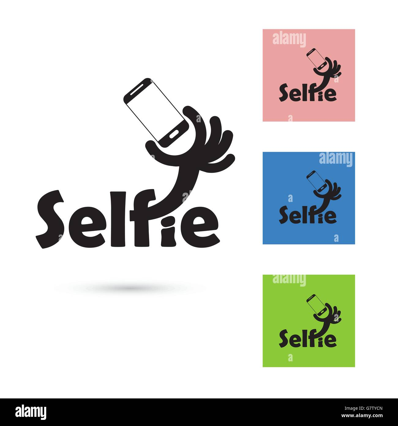 Selfie Word Logo Elements Design Taking Selfie Portrait