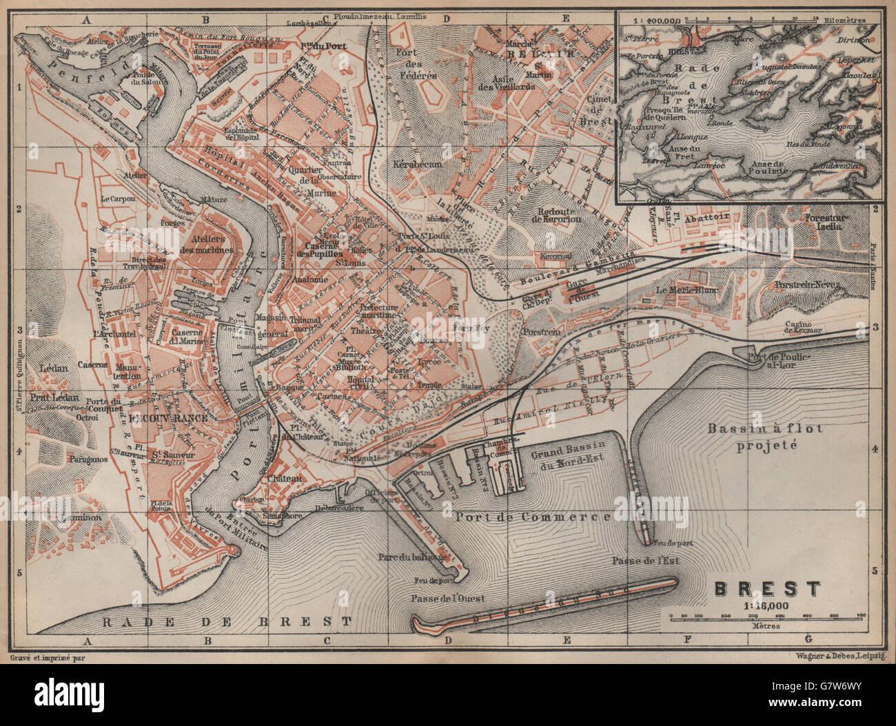 BREST town city plan de la ville. Finistère. Rade de Brest carte ...