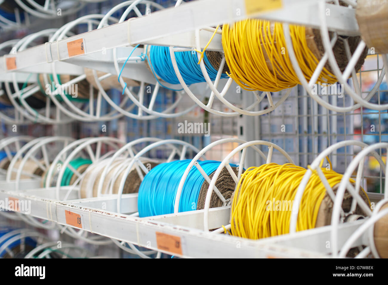 Fiber Optic Cable Reel Stock Photos Electronics Electricity Gt Optical Wire Power Spools In Store For Sales Image