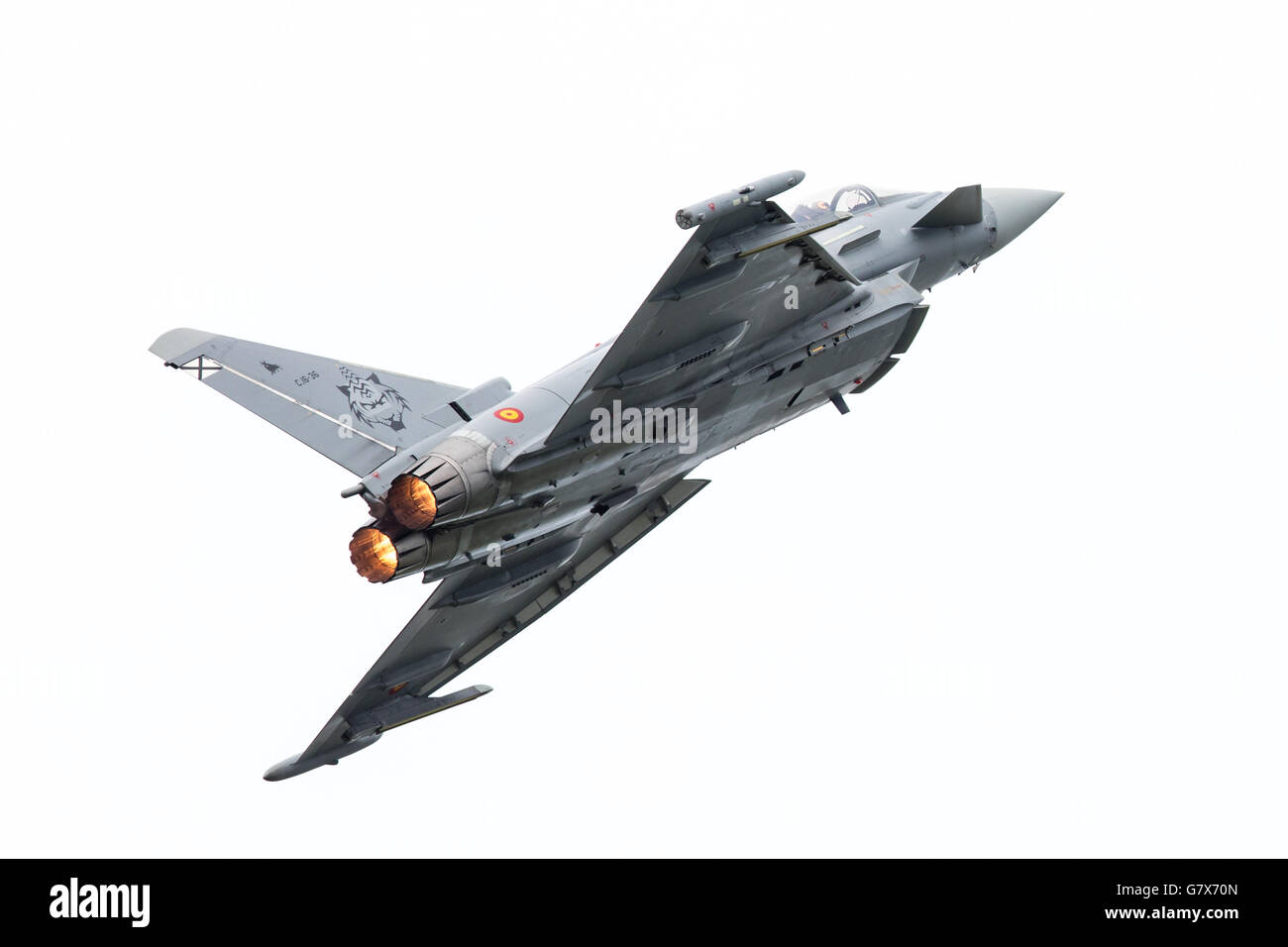 LEEUWARDEN, THE NETHERLANDS - JUNE 10: Spanish Air Force Eurofighter Typhoon flying during the Dutch Air Force Open Stock Photo