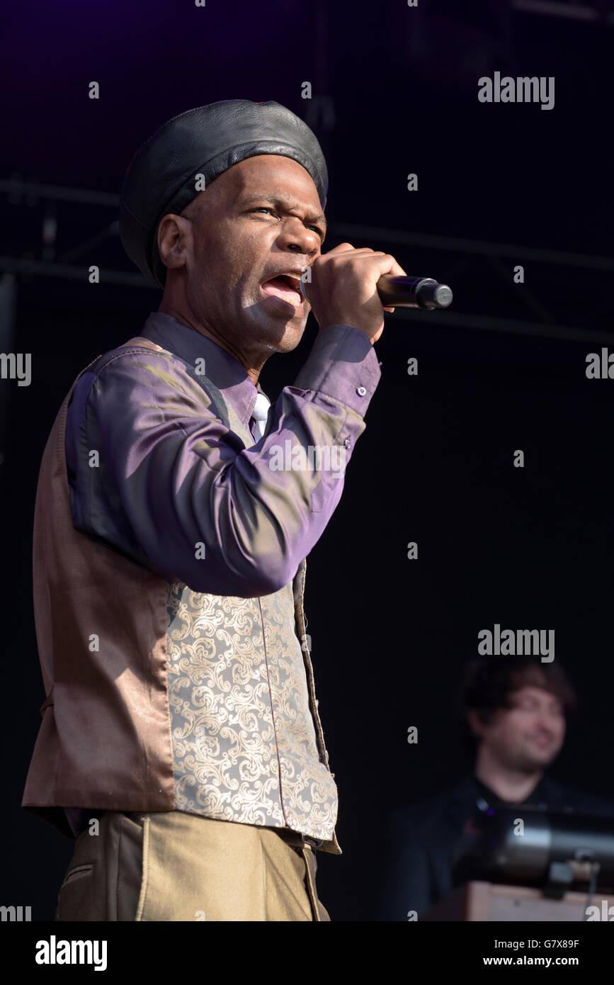Arthur 'Gaps' Hendrickson of The Selecter performing at Wychwood Festival, Cheltenham, England, UK. June - Stock Image