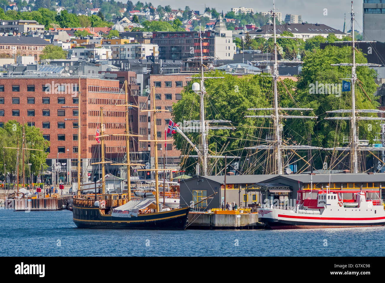 Sailing Ships In The harbour Oslo Norway - Stock Image