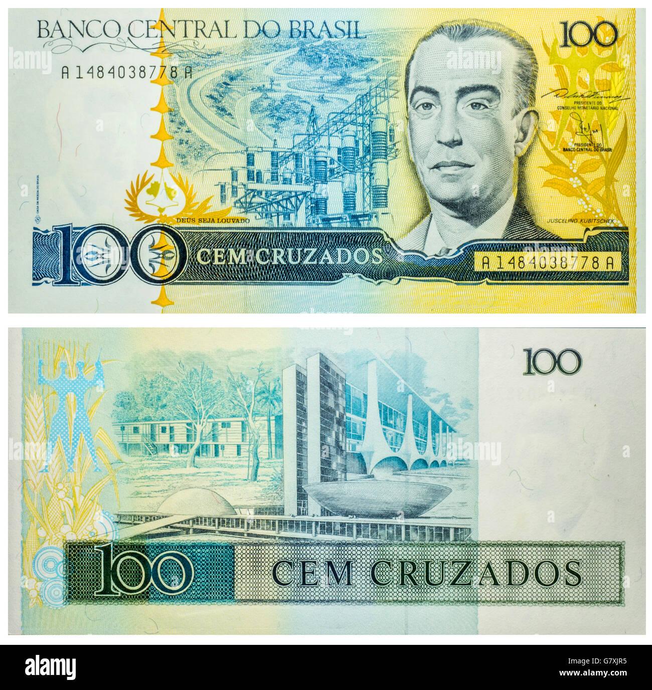 Banknote 100 Cruzados Brasil 1986 - Stock Image