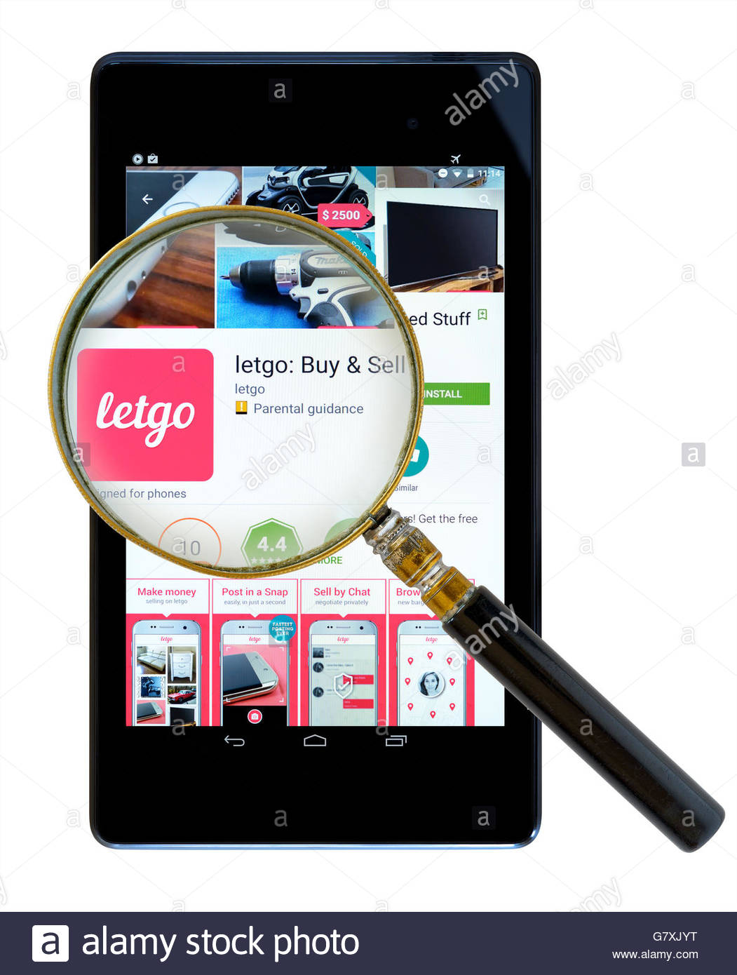 Letgo buy and sell secondhand items, app shown on a tablet computer, Dorset, England, UK - Stock Image